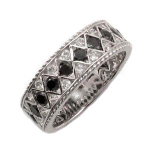 【10%OFF】ブラックダイヤモンド リング 指輪 レディース アンティーク 透かし レース 縄 なわ ゴージャス プラチナ