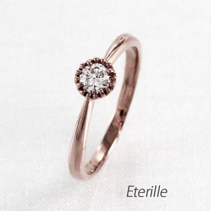 【10%OFF】ダイヤモンド リング 指輪 レディース 4月 一粒石 ミル アンティーク k18 18k 18金 ゴールド