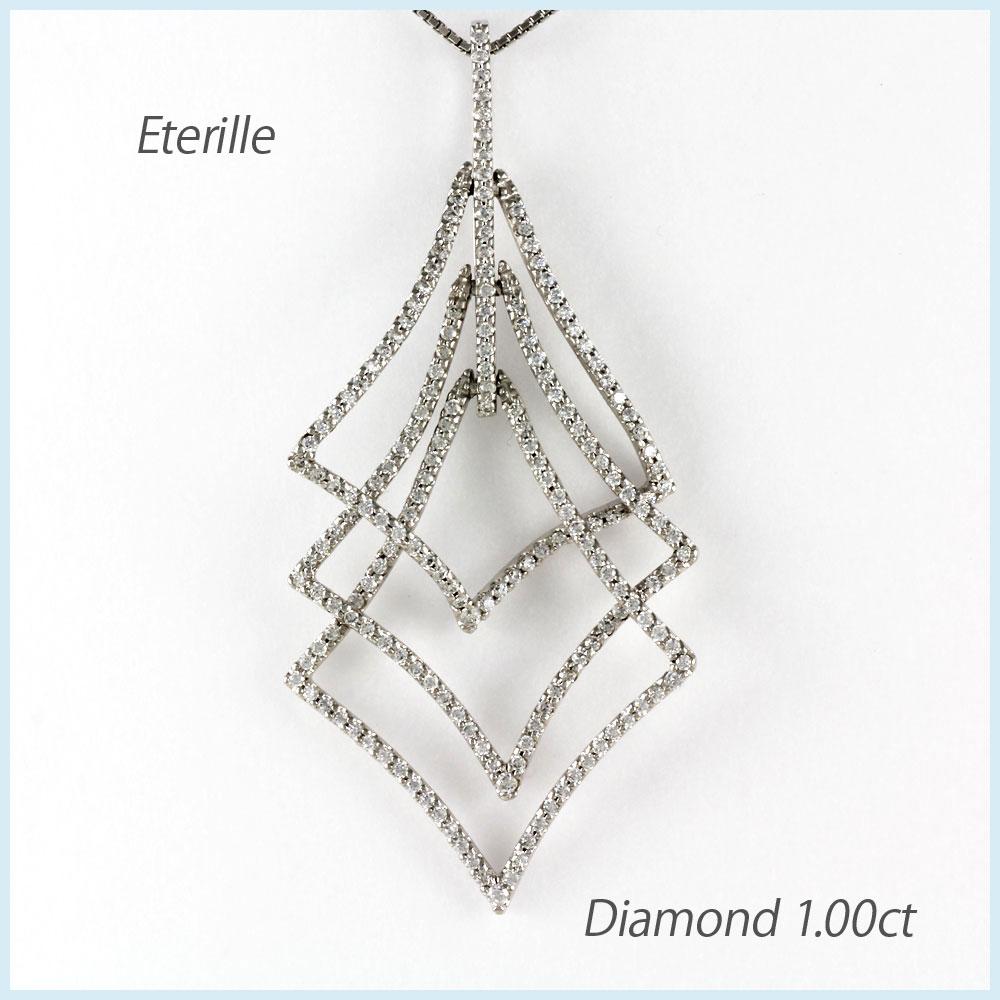 【10%OFF】ダイヤモンド ネックレス 18k ペンダント レディース ゴージャス 1.0カラット ひし形 3連 ゴールド k18 18金