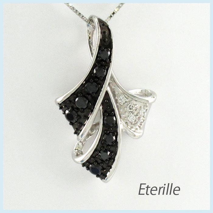 【10%OFF】ブラックダイヤモンド ネックレス ペンダント レディース パヴェ リボン プラチナ pt900