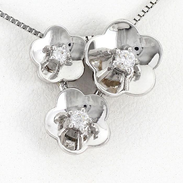 【10%OFF】ダイヤモンド ネックレス ペンダント レディース フラワー 花 トリロジー 2ウェイ 2way プラチナ pt900