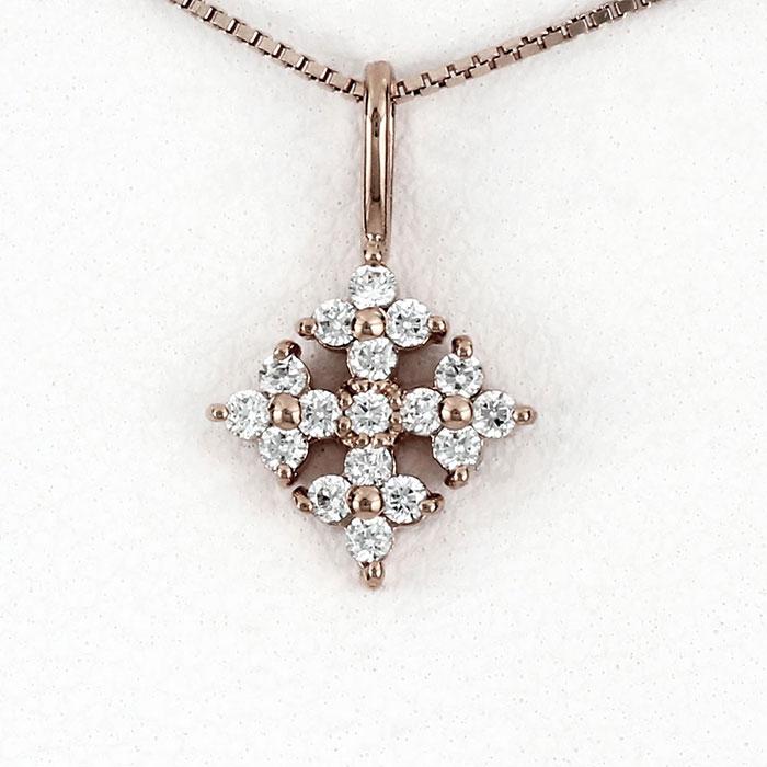 【10%OFF】ダイヤモンド ネックレス 18k ペンダント レディース スノークリスタル ゴールド k18 18金