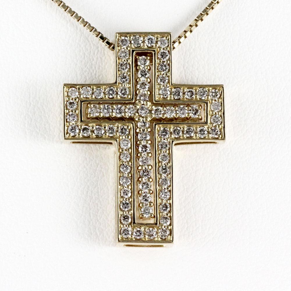 【10%OFF】ネックレス メンズ クロス ダイヤモンド 十字架 ゴールド k18 18k 18金