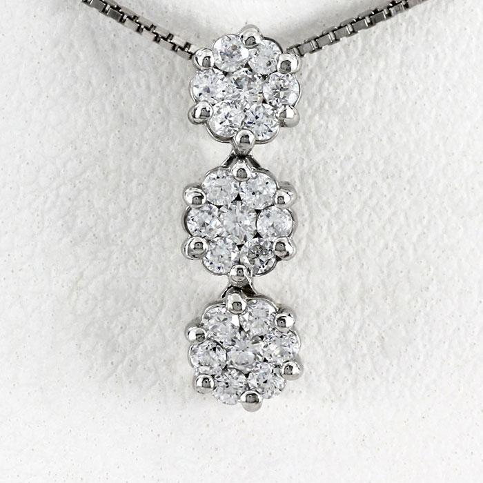 【10%OFF】プラチナ ネックレス ダイヤモンド ペンダント レディース フラワー 揺れる ブラ ミステリーセッティング pt900