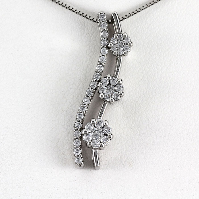 【10%OFF】ネックレス ダイヤモンド ペンダント レディース フラワー 花 ミステリーセッティング ゴールド k18 18k 18金