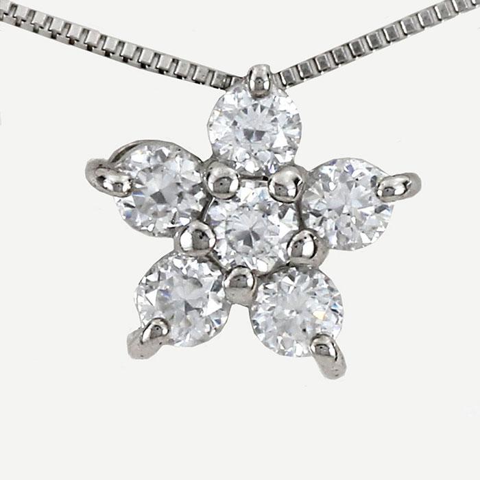 【500円OFFクーポン】ダイヤモンド ネックレス ペンダント レディース フラワー プラチナ pt900