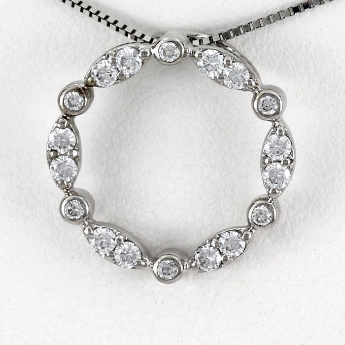 【10%OFF】ダイヤモンド ネックレス ペンダント レディース アンティーク プラチナ サークル ラウンド マーキス pt900