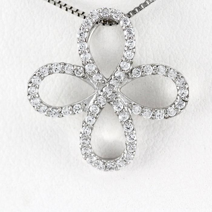 【10%OFF】プラチナ ネックレス ダイヤモンド ペンダント レディース クローバー フラワー 花 0.3カラット pt900