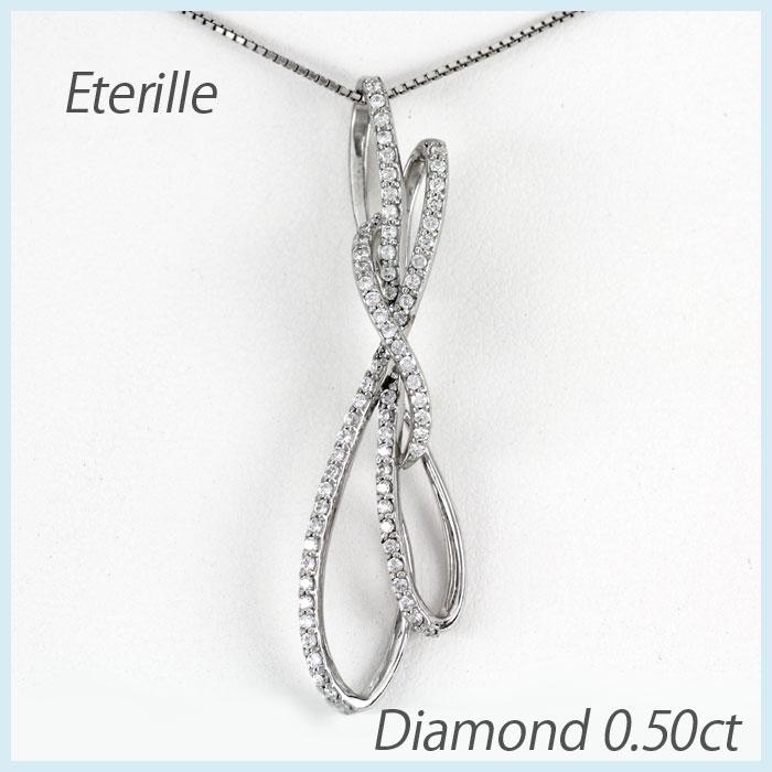 【10%OFF】プラチナ ネックレス ダイヤモンド ペンダント レディース リボン ゴージャス pt900
