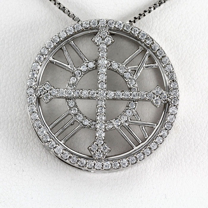 【10%OFF】ダイヤモンド ネックレス 18k ペンダント レディース アンティーク 時計 クロック ゴージャス ゴールド k18 18金