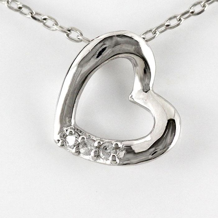 【10%OFF】ハート ネックレス ダイヤ ペンダント レディース ダイヤモンド オープンハート シンプル プチ プラチナ pt900