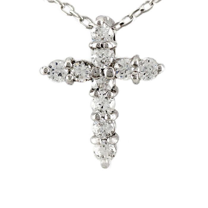 【10%OFF】ダイヤモンド ネックレス ペンダント レディース クロス 十字架 シンプル プチ プラチナ pt900