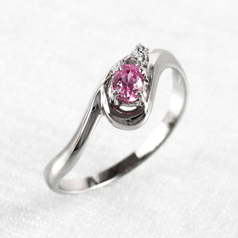 【10%OFF】ピンクサファイア リング カラーストーン オーバル 指輪 誕生石 ダイヤモンド レディース 一粒 カーブ ゴールド k18 18k 18金