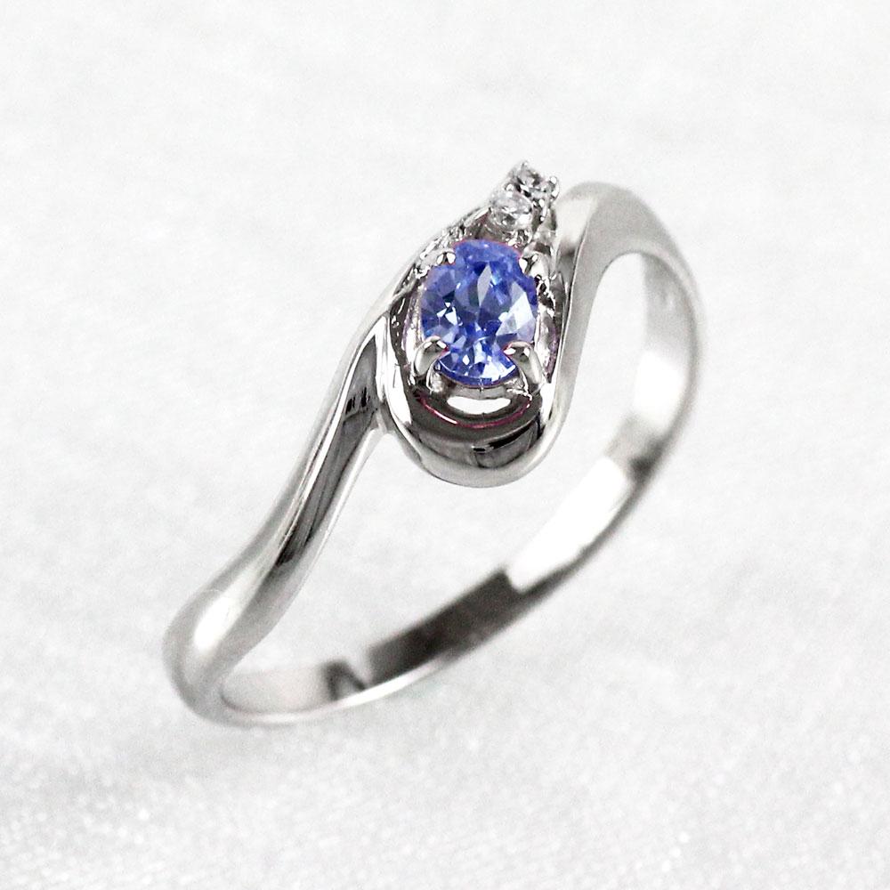 【10%OFF】タンザナイト リング カラーストーン オーバル 指輪 誕生石 ダイヤモンド レディース 一粒 カーブ ゴールド k10 10k 10金