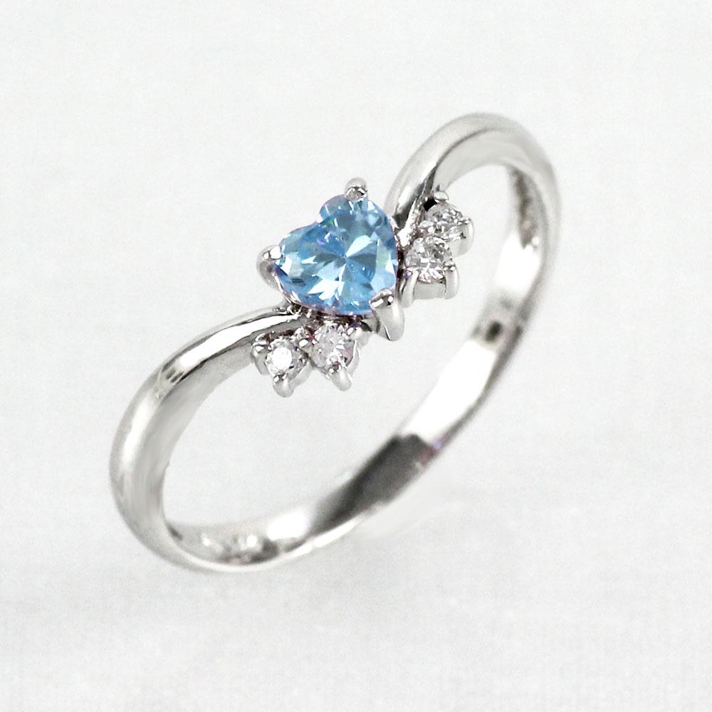【10%OFF】アクアマリン リング カラーストーン ハートシェイプ ハート ダイヤモンド 指輪 誕生石 レディース 一粒 ゴールド k10 10k 10金