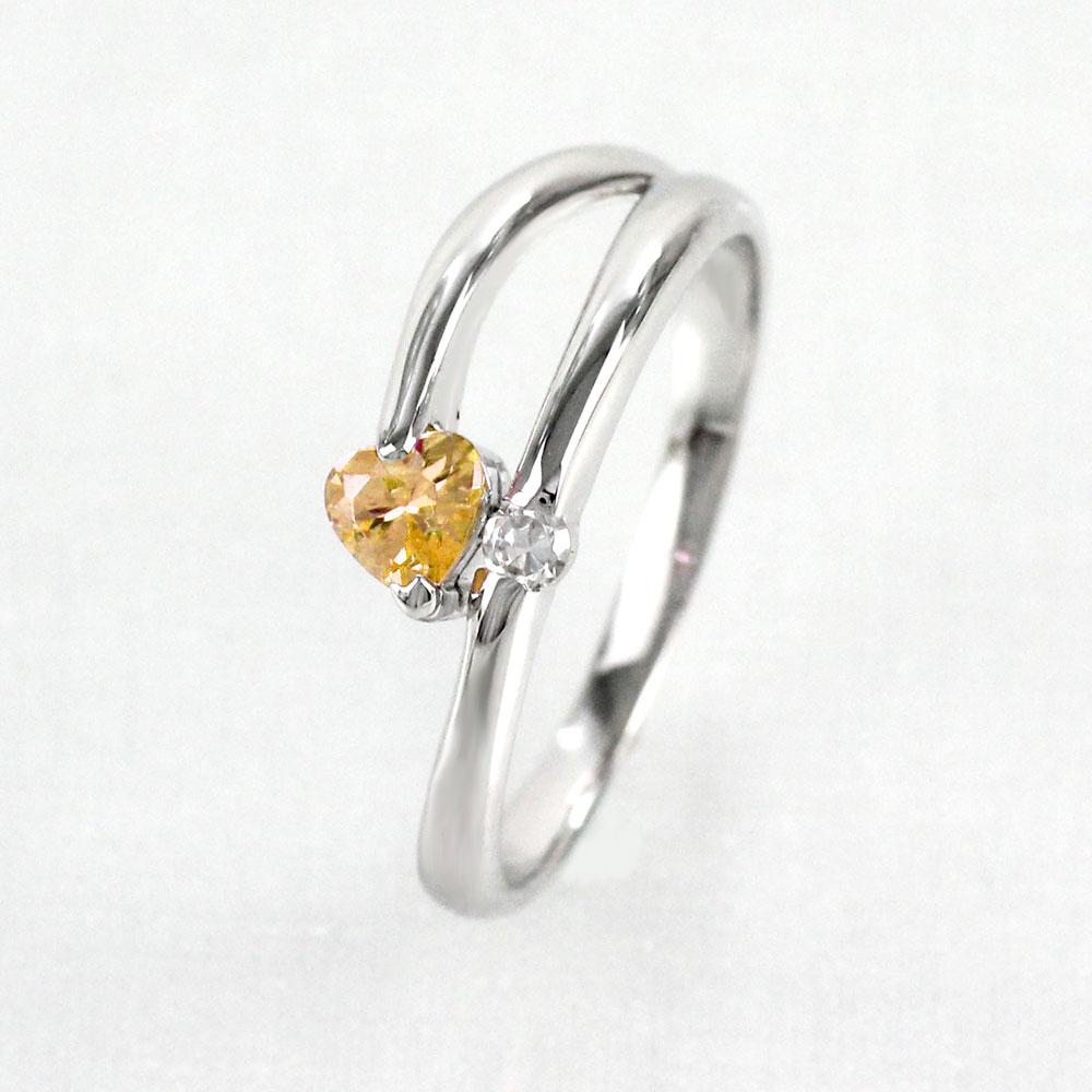 【10%OFF】シトリン リング カラーストーン ハートシェイプ ハート ダイヤモンド 指輪 誕生石 レディース 一粒 ゴールド k18 18k 18金