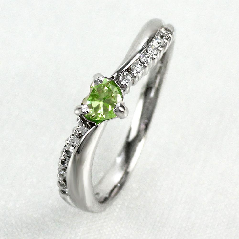 【10%OFF】リング ペリドット ダイヤモンド ハート カラーストーン ハートシェイプ プラチナ 900 指輪 誕生石 レディース 一粒 pt900
