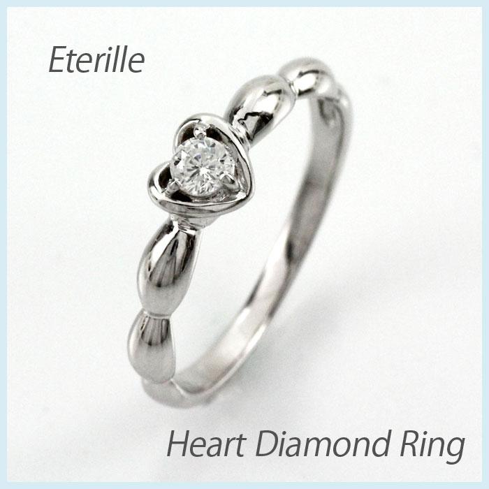 【10%OFF】ダイヤ リング 一粒 ダイヤモンド 指輪 レディース ハート アンティーク シンプル プラチナ pt900