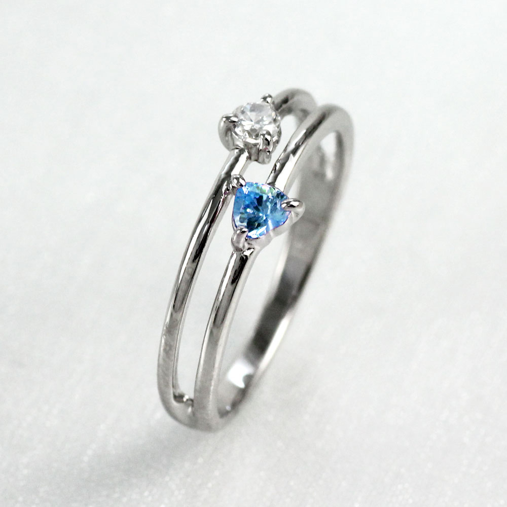 【10%OFF】ハート リング アクアマリン ダイヤモンド カラーストーン プラチナ ハートシェイプ 指輪 誕生石 レディース 一粒 pt900