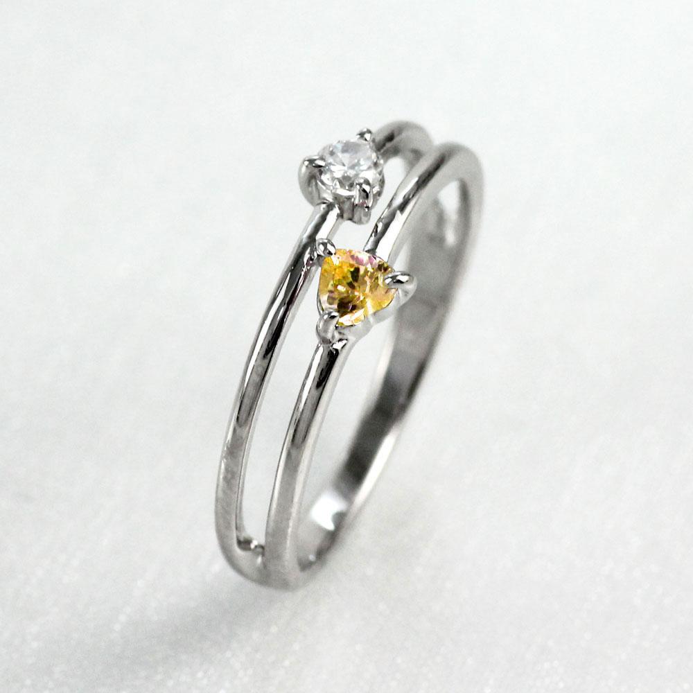 【10%OFF】ハート リング シトリン ダイヤモンド カラーストーン プラチナ ハートシェイプ 指輪 誕生石 レディース 一粒 pt900