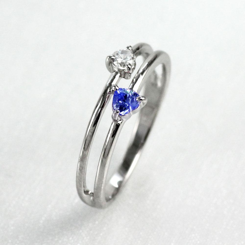 【10%OFF】ハート リング サファイア ダイヤモンド カラーストーン プラチナ ハートシェイプ 指輪 誕生石 レディース 一粒 pt900