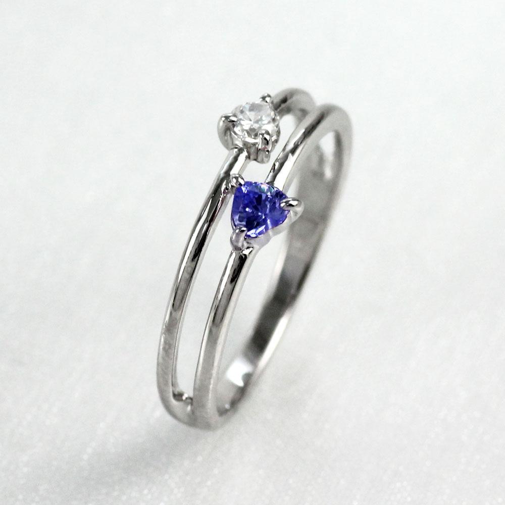 【10%OFF】ハート リング タンザナイト ダイヤモンド カラーストーン プラチナ ハートシェイプ 指輪 誕生石 レディース 一粒 pt900