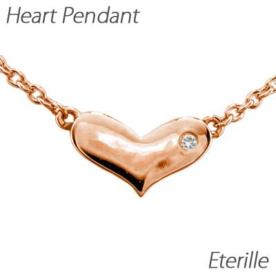 【10%OFF】ハート ネックレス ダイヤ ペンダント レディース ダイヤモンド プチ 地金 ゴールド k18 18k 18金
