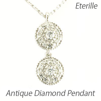 【10%OFF】ダイヤモンド ネックレス ペンダント レディース アンティーク ミル プラチナ pt900 ブラ 揺れる ゆれる