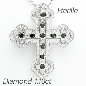 【10%OFF】ブラックダイヤモンド ネックレス メンズ クロス 十字架 ゴージャス アンティーク プラチナ