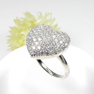 【10%OFF】ダイヤモンド パヴェ リング 指輪 レディース ハート プラチナ 1.0カラット 贅沢
