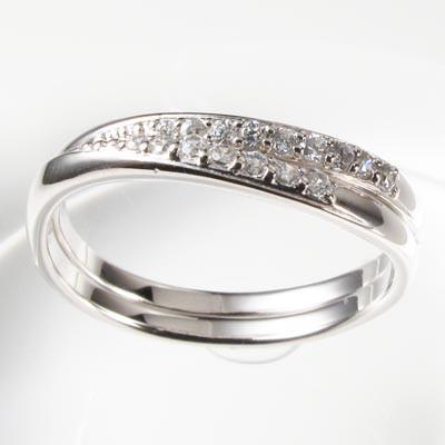 【10%OFF】ダイヤモンド リング 指輪 レディース シンプル カーブ ウェーブ 2本 セット プラチナ