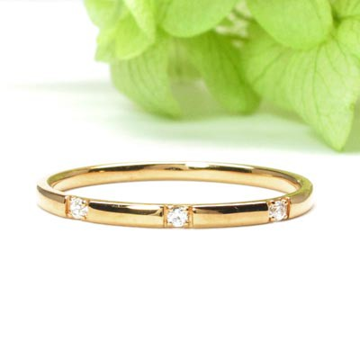【10%OFF】リング ダイヤモンド 指輪 レディース スリーストーン シンプル スレンダーアーム k18 18k 18金 ゴールド 甲丸 重ねづけ