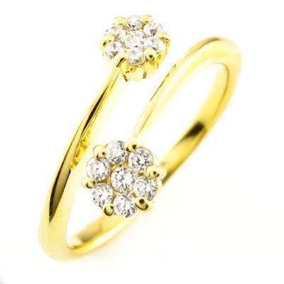 【10%OFF】ダイヤモンド リング 指輪 レディース 花 フラワー セブンスター フォークダイヤモンド リング 指輪 C型ダイヤモンド リング 指輪 k18 18k 18金 ゴールド