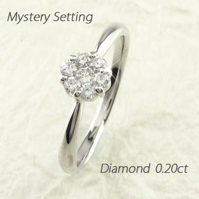 【10%OFF】ダイヤモンド リング 指輪 レディース フラワー セブンスター ミステリー k18 18k 18金 ゴールド 0.2カラット