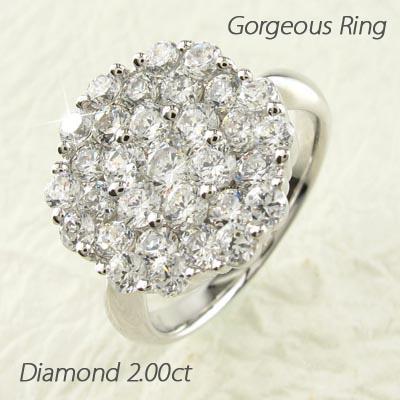 【500円OFF】ダイヤモンド パヴェ リング 指輪 レディース フラワー プラチナ 2.0カラット
