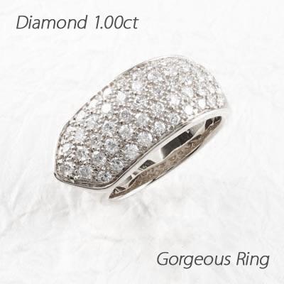 【10%OFF】ダイヤモンド パヴェ リング 指輪 レディース ゴージャスダイヤモンド パヴェ リング 指輪 プラチナ 1.0カラット