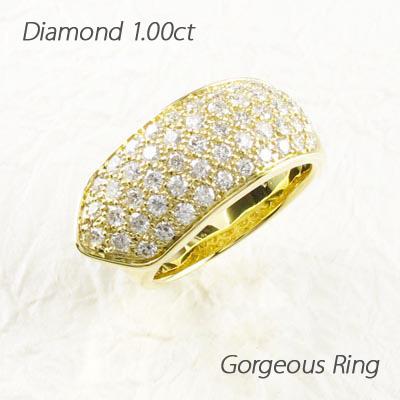 【10%OFF】ダイヤモンド パヴェ リング 指輪 レディース ゴージャスダイヤモンド パヴェ リング 指輪 k18 18k 18金 ゴールド 1.0カラット