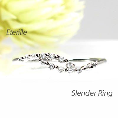 【500円OFFクーポン】ダイヤモンド リング 指輪 レディース カーブ スレンダー シンプル プラチナ