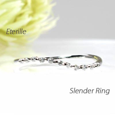 【10%OFF】ダイヤモンド リング 指輪 レディース カーブ スレンダー シンプル プラチナ