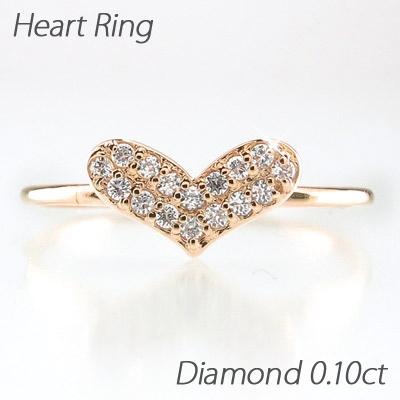 ダイヤモンド パヴェ リング 指輪 レディース ハート シンプル k18 18k 18金 ゴールド 0.1カラット