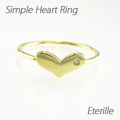 【10%OFF】ダイヤモンド リング 指輪 レディース ハート シンプル 地金 k18 18k 18金 ゴールド