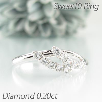 【500円OFFクーポン】ダイヤモンド リング 指輪 レディース スイート10 0.2カラット プラチナ 記念日