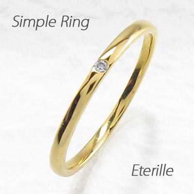 【10%OFF】リング ダイヤモンド 指輪 レディース ストレート シンプル 甲丸 1粒石リング ダイヤモンド 指輪 k18 18k 18金 ゴールド 重ねづけ