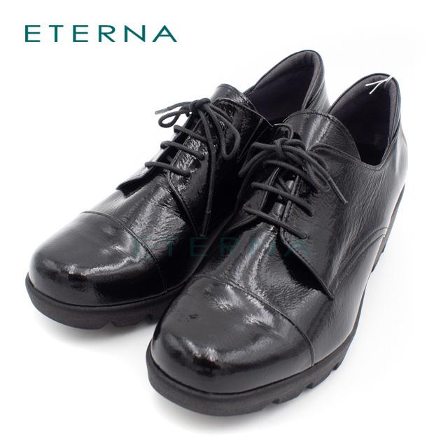 ETERNA エテルナ オリジナル 靴 レディース レースアップ オックスフォードシューズ エナメル 厚底 ウェッジソール 3E ブラック 3453