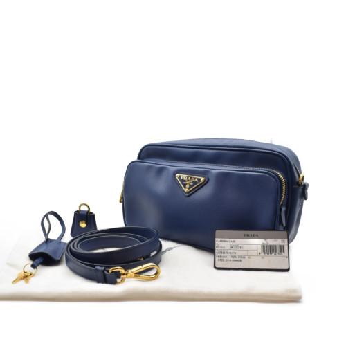 プラダ ショルダーバッグ ミニ 蔵 サフィアーノ BT1010 中古 NEW売り切れる前に☆ PRADA ブルー カメラバッグ