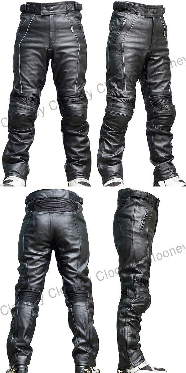 【Clooney】P02 膝カップ入り 本革 カウハイド 牛革  レザーパンツ ブーツアウト 送料無料