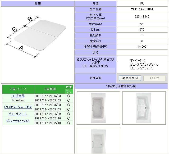 LIXIL(INAX) 組フタ 1400用組フタ(2枚) YFK-1475B(5)