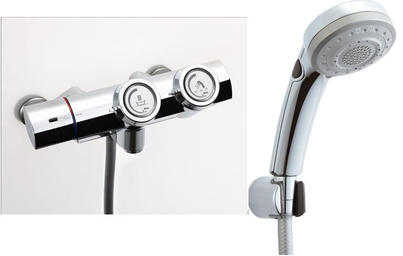 LIXIL(INAX)シャワーバス水栓 プッシュ式 サーモスタット付シャワーバス水栓 エコフルスイッチ多機能シャワーBF-HW156TSBW