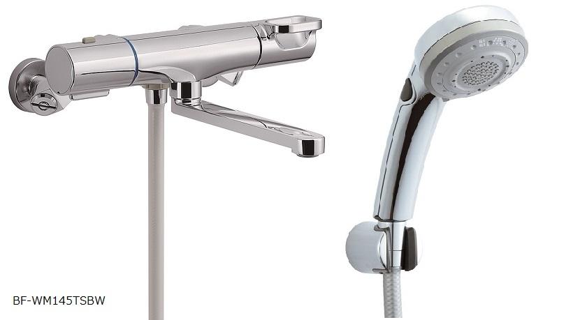 INAX クロマーレS  浴室用水栓金具 壁付タイプ サーモスタット付シャワーバス水栓 エコフルスイッチ多機能シャワー BF-WM145TSBW