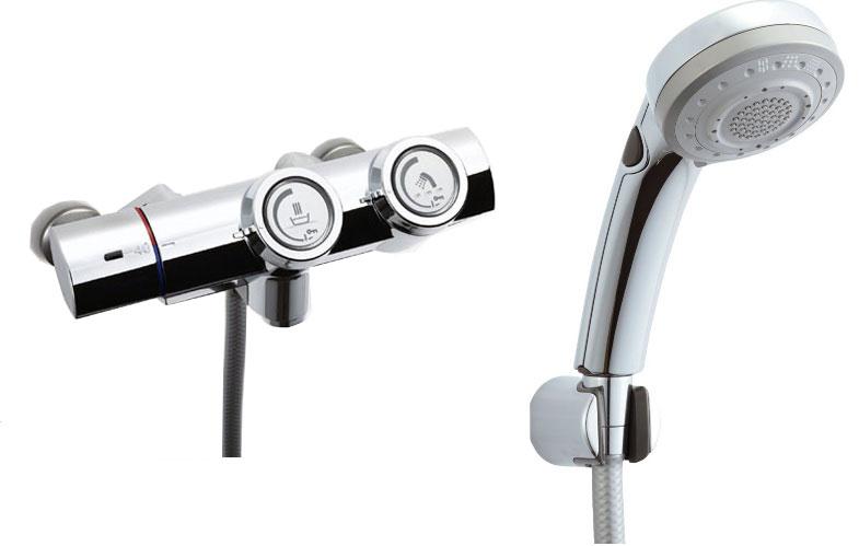 シャワーバス水栓 プッシュ式 サーモスタット付シャワーバス水栓 エコフルスイッチ多機能シャワー BF-HW156TSBW